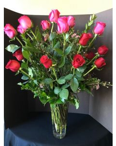 Two Dozen Pink and Red Roses