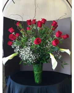Two Dozen Roses and Calla Lilies