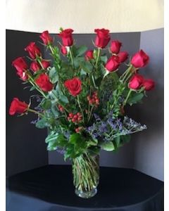 Two Dozen Roses with Berries
