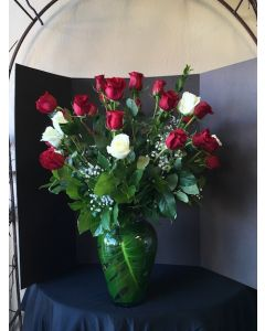 Three Dozen Red and White Roses