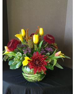 Beautiful Flowers with Yellow Tulips and Calla Lilies