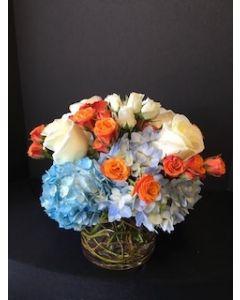 Blue Hydrangea and Spray Roses