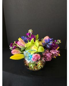 Bubble Bowl of Colorful Flowers