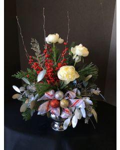 Christmas Flowers with Red White and Greens