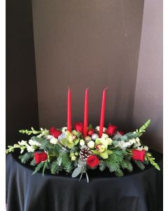 Christmas Centerpiece with 3 Candles