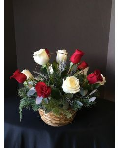 Christmas Flowers Basket with a Dozen Roses