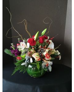 Christmas Flowers in a Bubble Bowl