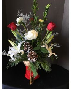Christmas Flowers in a Stocking