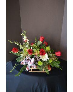 Christmas Flowers in Santa's Sleigh