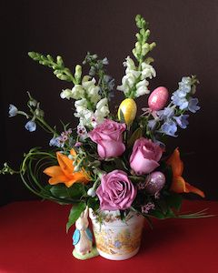 Easter Flowers with a Rabbit