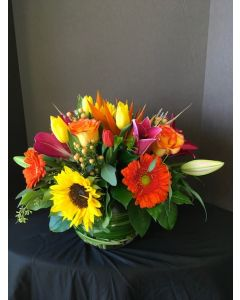 Fall Flowers in a Bubble Bowl