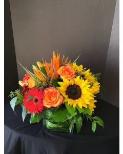 Fall Flowers with Bird of Paradise