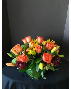 Fall Flowers with Orange Roses