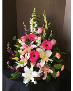 Funeral Flowers Basket - Shades of Pink