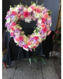 Funeral Flowers Heart Easel
