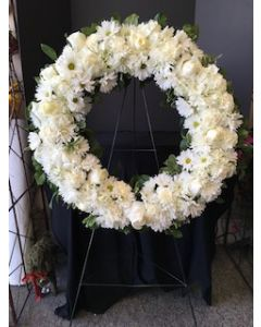 Funeral Flowers White Circle