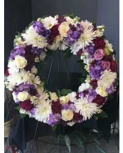 Funeral Flowers Circle Easel