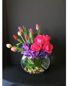 Half Moon Vase of Tulips and Roses
