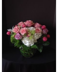 Valentine's Day Flower Arrangement with Pink Roses
