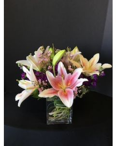 Lilies in a Square Vase