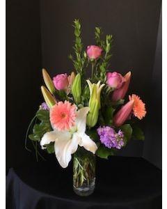 Lilies, roses, and purple splash