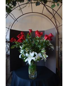 Long Stem Roses and Lilies