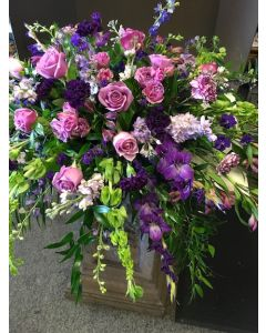 Funeral Flowers Casket Spray in Purple