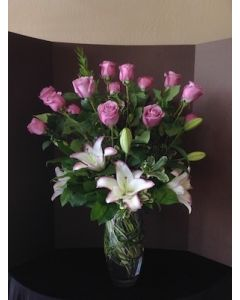 Valentines Day Flowers with Purple Roses and Lilies