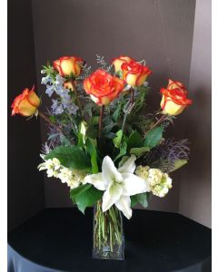 Yellow and Orange Roses with Lilies
