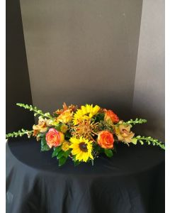 Thanksgiving Centerpiece with Sunflowers