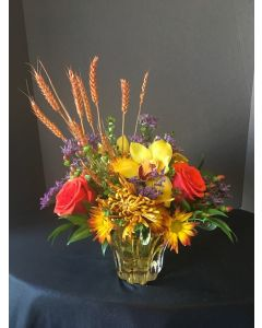 Thanksgiving Flowers in a clear vase