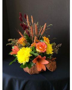 Thanksgiving Flowers Pumpkin Basket