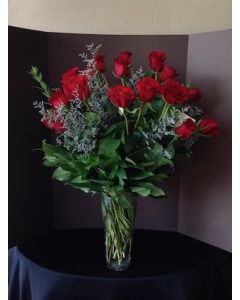 Two Dozen Red Roses with Frost