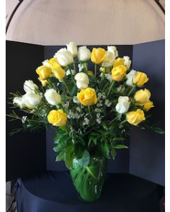 Three dozen roses in White and Yellow