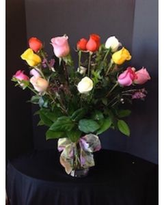 Valentine's Day Bouquet with 18 Assorted Roses