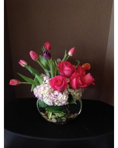 Valentine's Day Flowers with Hot Pink Roses and Tulips