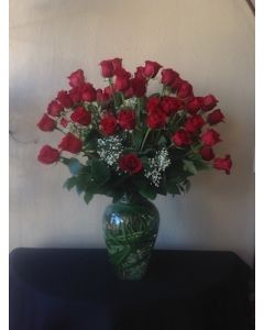 Valentine's Day Roses with 3 dozen red roses with babies breath